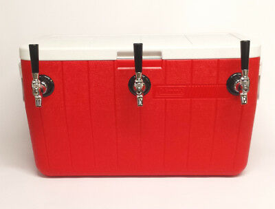 Jockey Box Draft Beer Cooler 3 Faucet 50' Stainless Steel Coils, 48qt Red