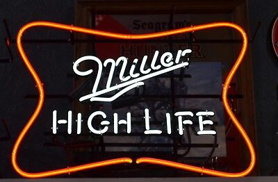 "NEON Miller High Life 2 Color Neon Sign Big Large Man Cave Bar 24"" x 18"" Beer"