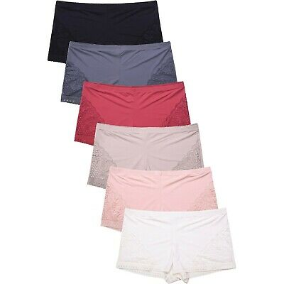 Lot of 6ps Women Plus Size No Show Boy Shorts Hipster Lingerie Panties Underwear