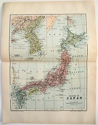 Original 1895 Map of Japan in the Colonial Era by W & A.K. Johnston