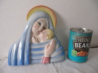Art Deco Pottery Wall Plaque Mother Mary & Child