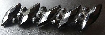 """antique Victorian 2.5"""" long french jet black glass mourning brooch c pin -A223"""