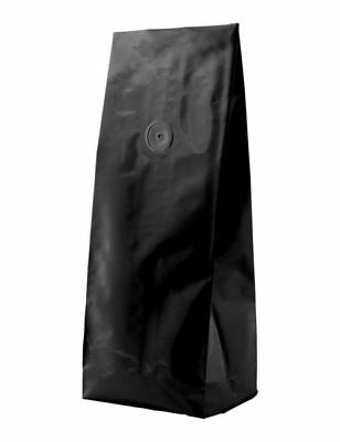 BAP 500 2 LB Matte Black Side Gusseted Coffee Bags, with Valve.