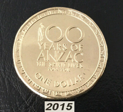 2015 100 Years of Anzac $1 coin from RAM Roll Brilliant Unc - Very Low mintage