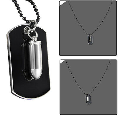 Men's Stainless Steel Black Bullet Dog Tag Pendant Necklace W/ Bead Chain Beauty