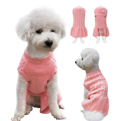 Soft Knitted Dog Clothes Puppy Kitten Sweater Dog Skirts Chihuahua Pink Dress