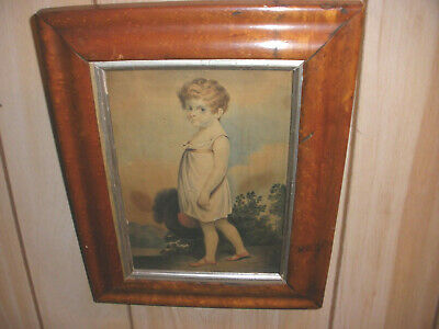 Nice Antique 1800`s 19th American  school young girl primitive portrait painting