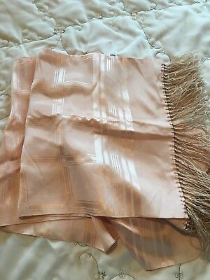 Vintage Rayon Peach Fringed Scarf~To Wear Or Decorate~So Pretty!
