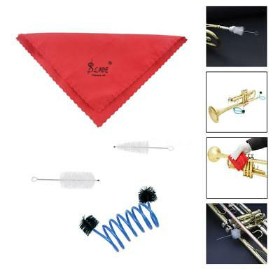 New Trumpet Maintenance Cleaning Care Kit Set Cleaning Cloth Flexible Brush O6S9