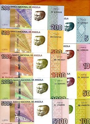SET Angola, 5;10;50;100;200;500;1000;2000;5000 Kwanzas, 2012, 9 notes, UNC