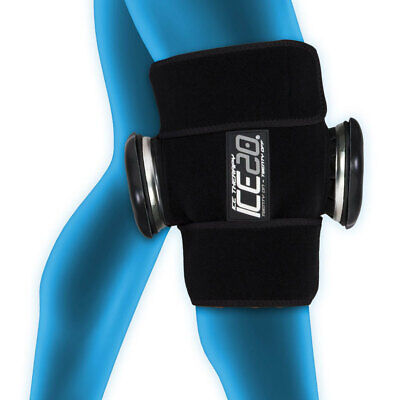 Ice20 Ice Therapy Knee Thigh Shin Cold Compression Wrap Pain Relief w Strap/Bag