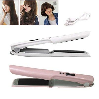 2 in 1 Portable USB Charge Wireless Hair Straightener Curler Flat Iron Ceramic