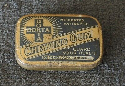 1920s AUSTRALIAN DOKTA CHEWING GUM TIN COMPLETE WITH WRAPPED GUM MADE MELBOURNE