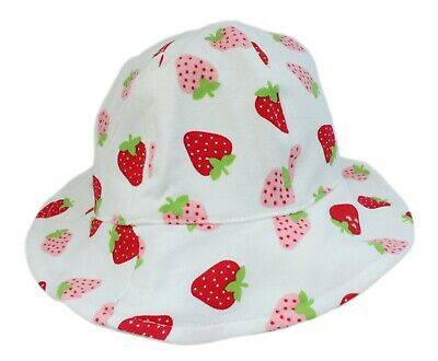 Baby Girl Cotton White Strawberry Bucket Sun Hat Chin Strap Age 6-12M 1 2 3 4