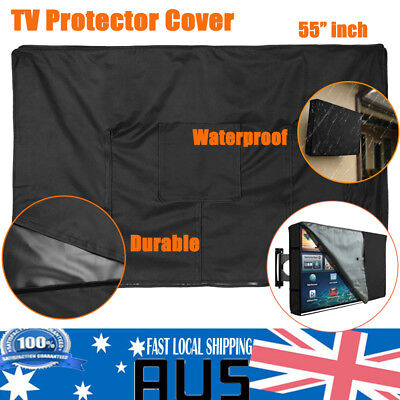 """55"""" Inch Waterproof TV Cover Outdoor Patio Flat Television  PVC Protector Black"""