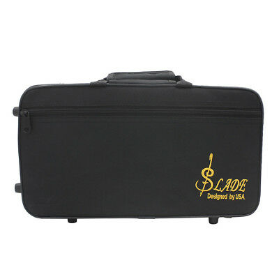 LADE Black Oxford Cloth Clarinet Carrying Case Foam Padded Gig Bag with Strap TP