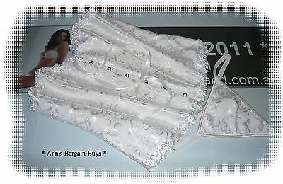 Womens-Size Large-Bridal-Lace Up-Corset-Bustier & G String-Ivory-So Sexy!!!-NWOT
