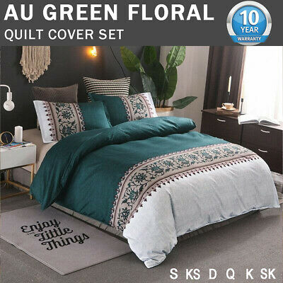 Green Duvet Quilt Cover Set Queen/King/Double Size Bed New Floral Doona Covers