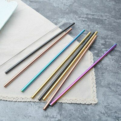 1/4PCS Drinking Straws Reusable Straight Stainless Steel Straw Party Cocktail