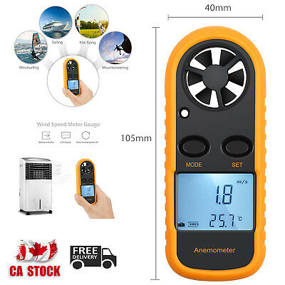 LCD Digital Anemometer Wind Air Speed Meter Tester Temperature Gauge Thermometer