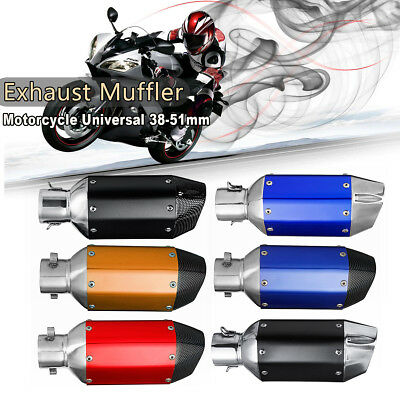 38-51mm Universal Motorcycle Steel Exhaust Muffler Silencer Removable Set