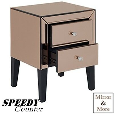 Elegent Classic Mirror 2 Drawer Storage Cabinet Unit Crystal Handles -