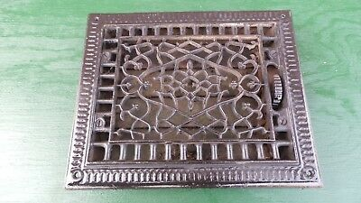 Vintage VICTORIAN Cast Iron Floor Grille 10x8 Heat Grate Register with Louvers