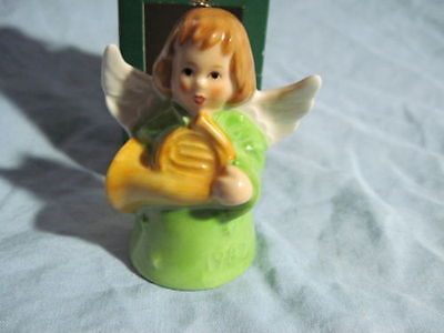 1982 Goebel ANGEL BELL ORNAMENT Green With French Horn in Box