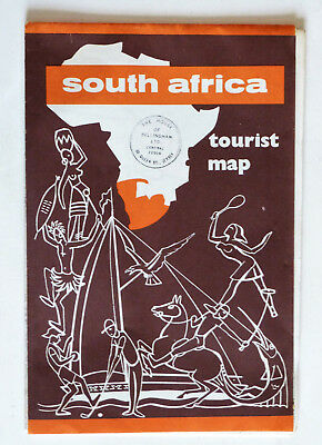 Vintage South Africa Fold-Out Tourist Map.
