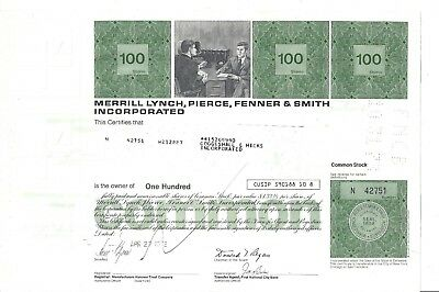 Merrill Lynch,pierce,fenner & Smith Incorporated....1972 Stock Certificate