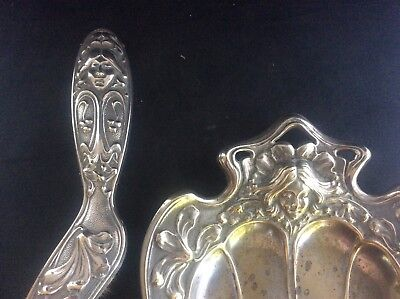 Antique c1890 Art Nouveau Silver Plated Brass Dust Pan & Brush Stlised Lady WMF