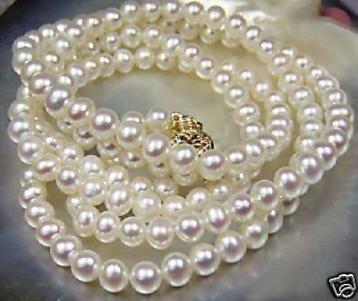 "Long 22"" 25"" 36"" 48"" 64"" 80""  8-9mm Natural White Akoya Cultured Pearl Necklace"