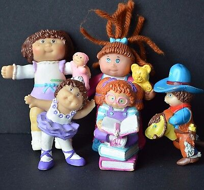 """5 Cabbage Patch kids toys vintage doll figure cake toppers 3"""" ballerina cow boy"""