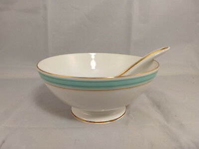 "Heinrich H&Co Aqua/Turquoise and Gold 6"" Footed Bowl - Cranberry/Candy/Nuts"