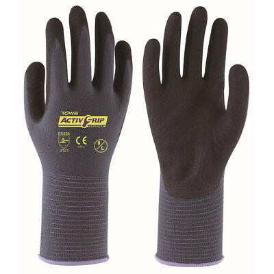 2 x Pairs Of Towa ActivGrip Advance Safety Gloves Nitrile Palm Coated (TOW581)