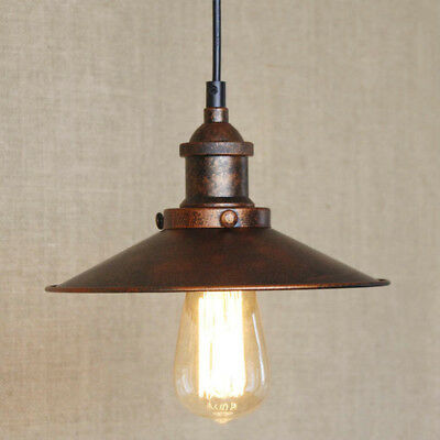 Antique Rustic Aged Pendant Light Hanging Ceiling Lamp Fixture With Saucer Shade