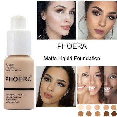 1-Matte Liquid Makeup Concealer Full Coverage Long Lasting Face Cream Foundation
