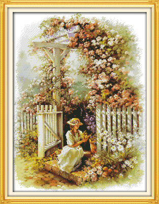 """Joy Sunday Counted Cross Stitch Kit Harbour 15/"""" x 9.8/"""" 14 CT Fabric Embroidery"""