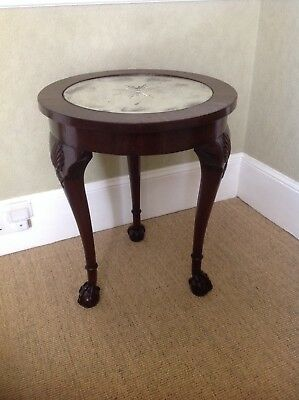 ANTIQUE VICTORIAN (c 1840) MAHOGANY MIRROR TOP LAMP TABLE
