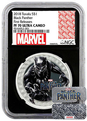 BLACK PANTHER - MARVEL 2018 1 Pure Silver Coin - NGC PF70 UC First Releases COA