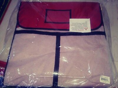 """New 24"""" x 24"""" Red Vinyl Insulated Pizza Delivery Bag Holds 2 Pizzas"""