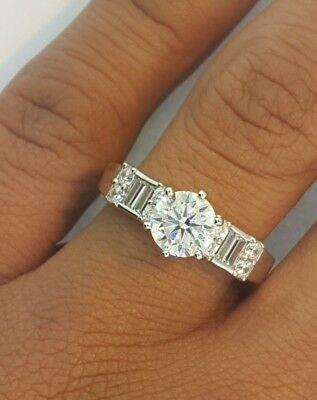 1.75 CT Round Baguette Diamond Engagement Wedding Ring 14k White Gold