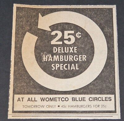 Vintage 1965 Blue Circle Restaurant Newspaper Ad Knoxville TN Wometco Hamburgers