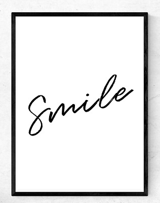 Inspirational Motivational Quote Poster A4 Print Home Happiness ~ Smile ~
