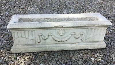 "Vintage Antique Victorian Carved Marble Or Limestone 30"" Garden Planter"