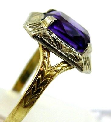 1930's 10k  gold Original Art Deco Ladies Ring w Amethyst Sz 6
