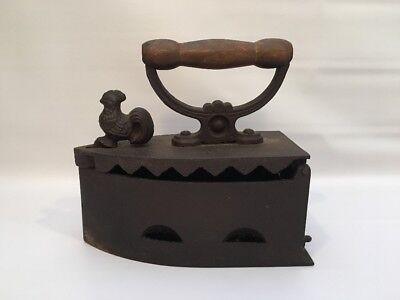 """Antique Vintage Cast Iron Coal Heated Sad Iron With Rooster Latch 9"""" Long"""