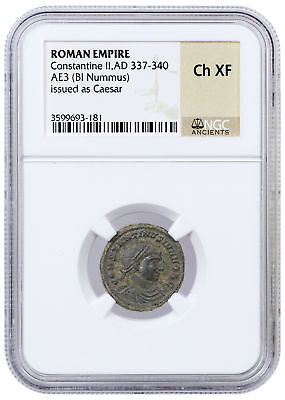 Roman Empire Random Billon Nummus W/Ancient Roman Glass Beads NGC Ch XF SKU53273