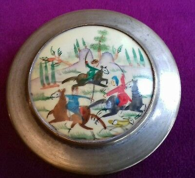 Antique Persian Snuff Box,  Mother of Pearl,  7 cm,  battle scene painted
