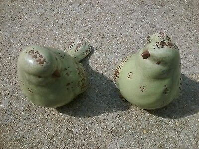 Rare Antique Chinese Hand Made China Pair Of Porcelain Ceramic Bird Figurines